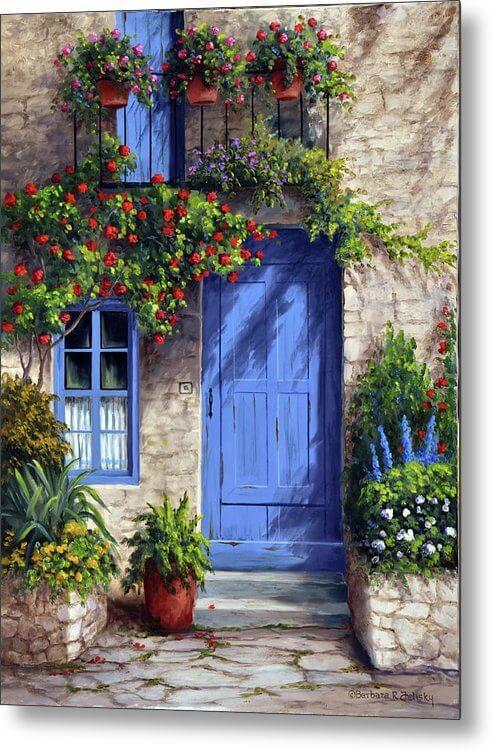 Provence Blue Door Metal Print By Barbara Felisky